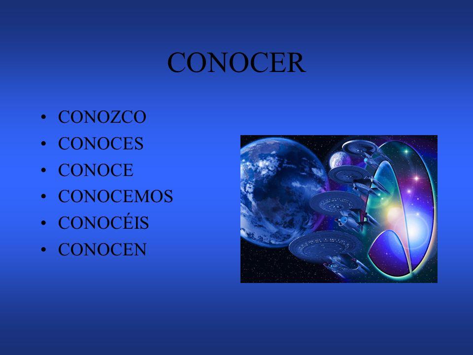 CONOCER CONOZCO CONOCES CONOCE CONOCEMOS CONOCÉIS CONOCEN
