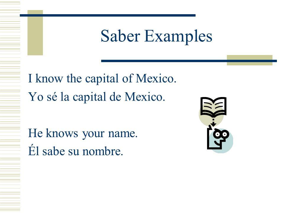 Conocer Examples They know Mexico city very well.Ellos saben la ciudad de Mexico muy bien.