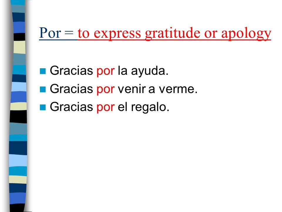 Por = to express gratitude or apology Gracias por la ayuda. Gracias por venir a verme. Gracias por el regalo.