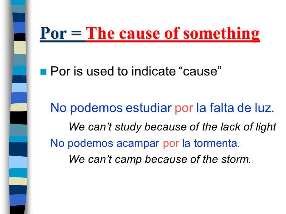 Por = An exchange Por is used when talking about exchanges Cecilia pagó mucho por su coche.