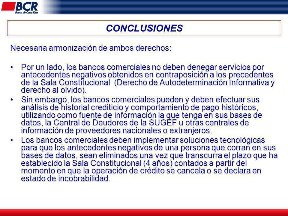 CONCLUSIONES Necesaria armonización de ambos derechos: Por un lado, los bancos comerciales no deben denegar servicios por antecedentes negativos obten