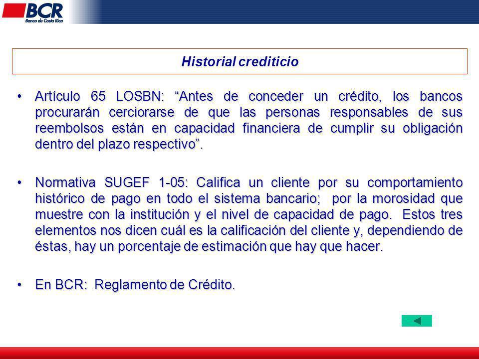 Historial crediticio Artículo 65 LOSBN: Antes de conceder un crédito, los bancos procurarán cerciorarse de que las personas responsables de sus reembo