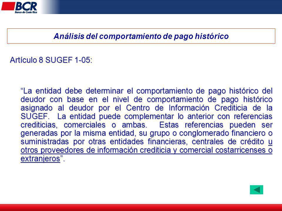 Análisis del comportamiento de pago histórico Artículo 8 SUGEF 1-05: La entidad debe determinar el comportamiento de pago histórico del deudor con bas
