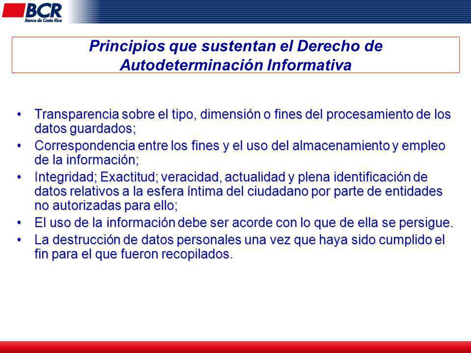 Principios que sustentan el Derecho de Autodeterminación Informativa Transparencia sobre el tipo, dimensión o fines del procesamiento de los datos gua
