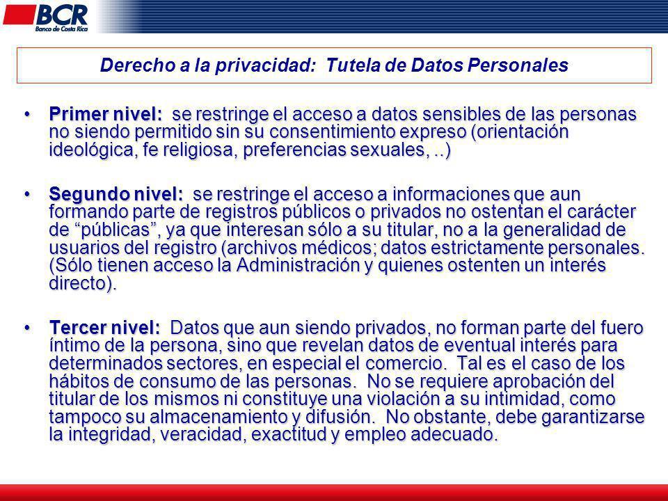 Derecho a la privacidad: Tutela de Datos Personales Primer nivel: se restringe el acceso a datos sensibles de las personas no siendo permitido sin su