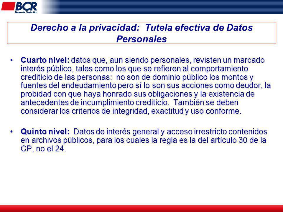 Derecho a la privacidad: Tutela efectiva de Datos Personales Cuarto nivel: datos que, aun siendo personales, revisten un marcado interés público, tale