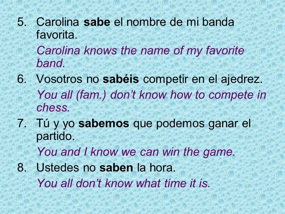 Translate to Spanish.1.I dont know the name of the CD.