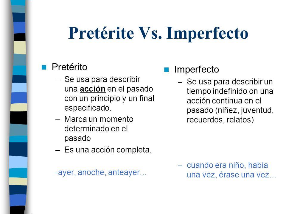 Pretérite Vs. Imperfecto Pretérito –Se usa para describir una acción en el pasado con un principio y un final especificado. –Marca un momento determin