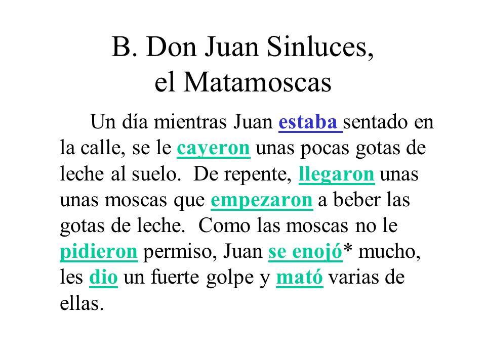 B.Don Juan Sinluces, el Matamoscas Juan las contó y vio que eran muchas de las moscas muertas.