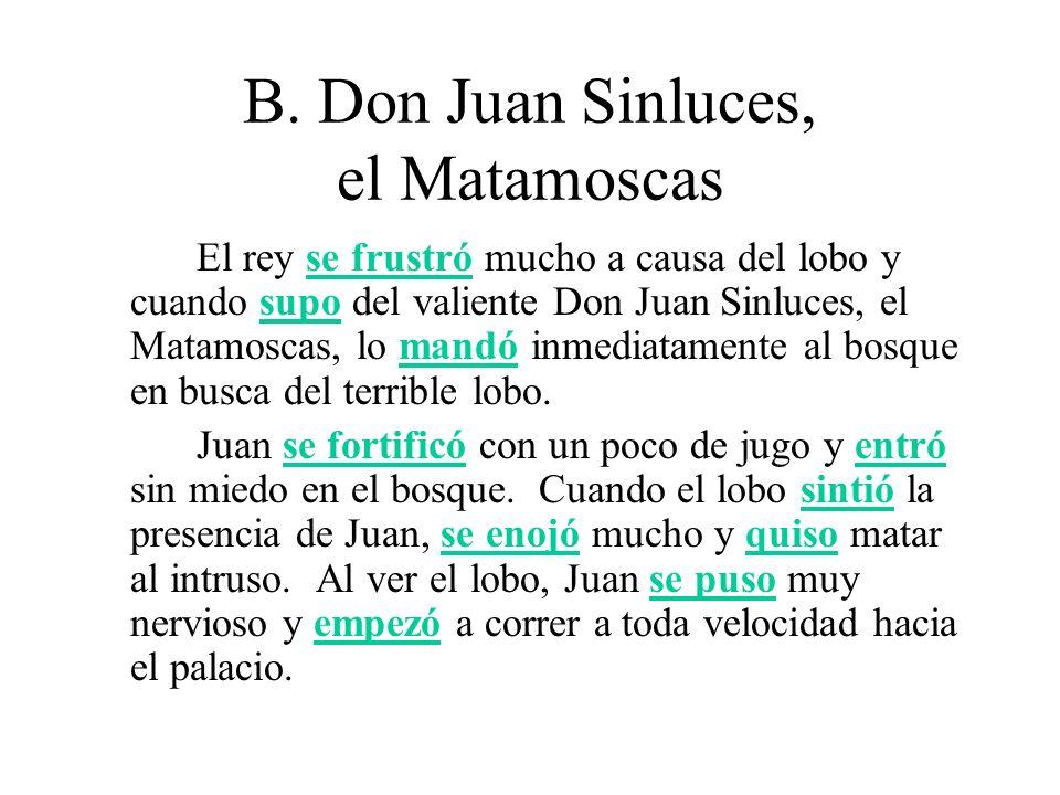 B.Don Juan Sinluces, el Matamoscas Juan llegó al palacio primero y se escondió debajo de una mesa.