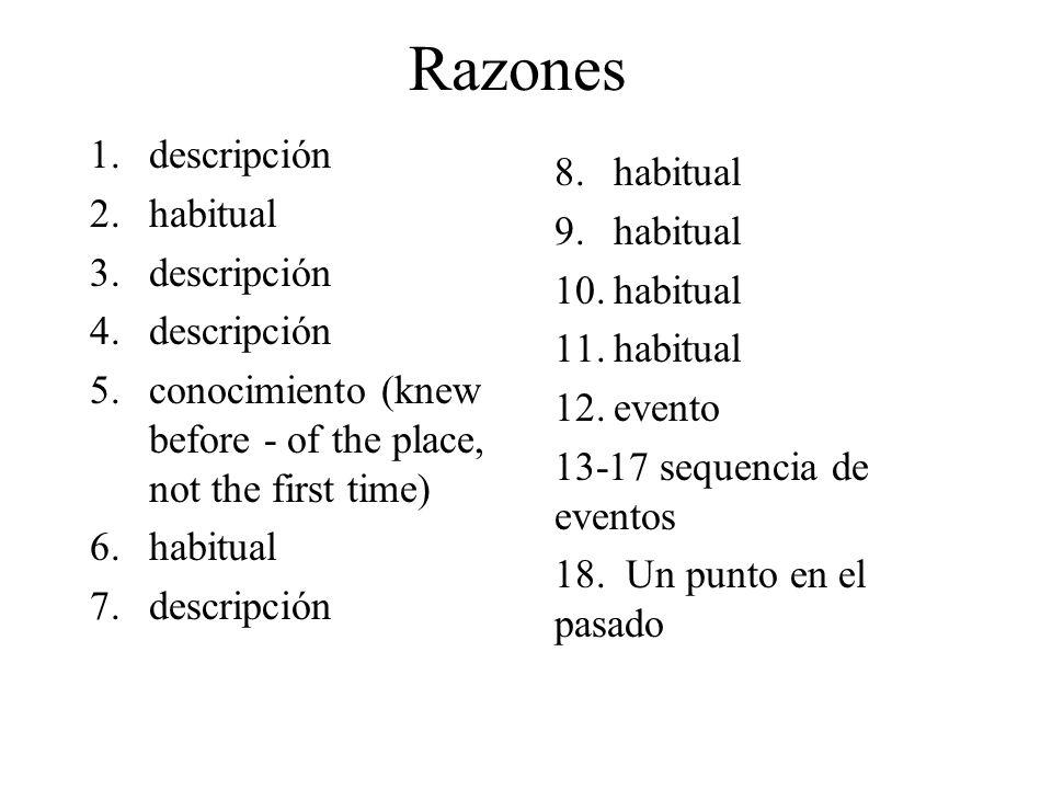 Razones 1.descripción 2.habitual 3.descripción 4.descripción 5.conocimiento (knew before - of the place, not the first time) 6.habitual 7.descripción