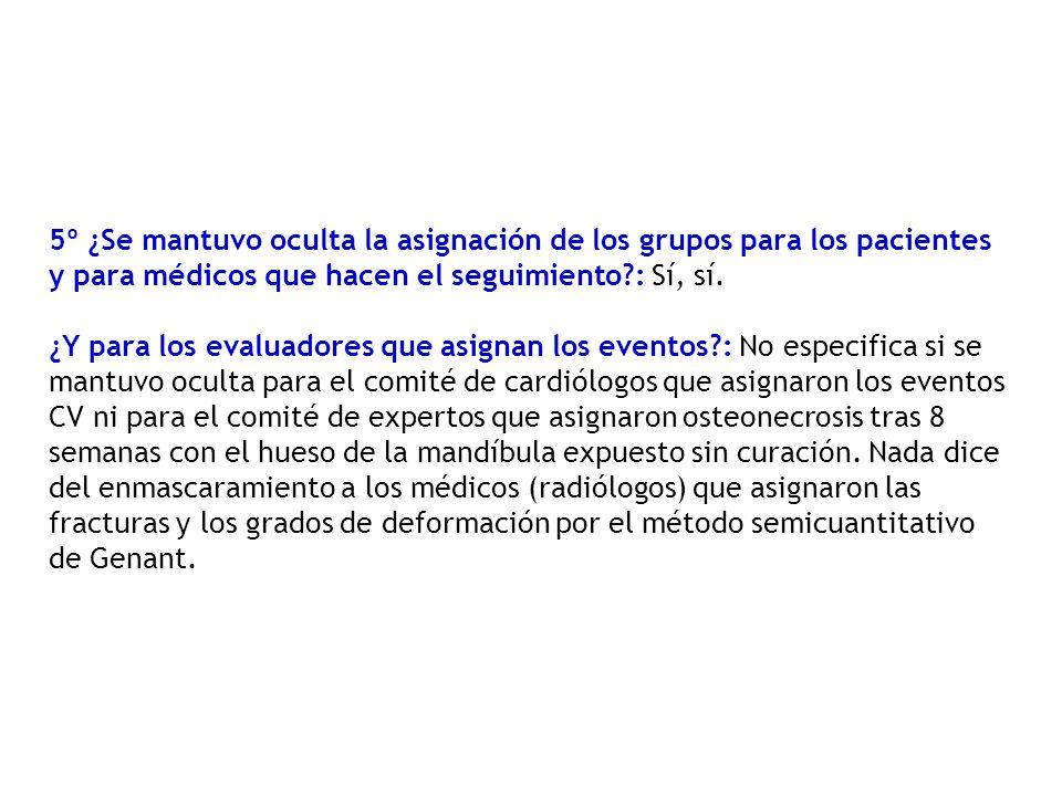 5º ¿Se mantuvo oculta la asignación de los grupos para los pacientes y para médicos que hacen el seguimiento?: Sí, sí.