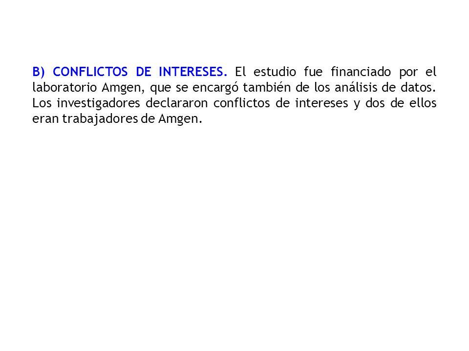 B) CONFLICTOS DE INTERESES. El estudio fue financiado por el laboratorio Amgen, que se encargó también de los análisis de datos. Los investigadores de