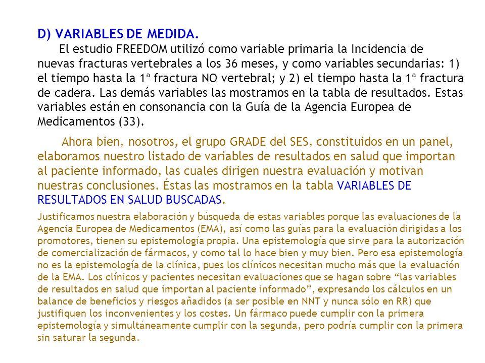 D) VARIABLES DE MEDIDA. El estudio FREEDOM utilizó como variable primaria la Incidencia de nuevas fracturas vertebrales a los 36 meses, y como variabl