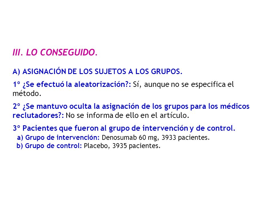 III.LO CONSEGUIDO. A) ASIGNACIÓN DE LOS SUJETOS A LOS GRUPOS.