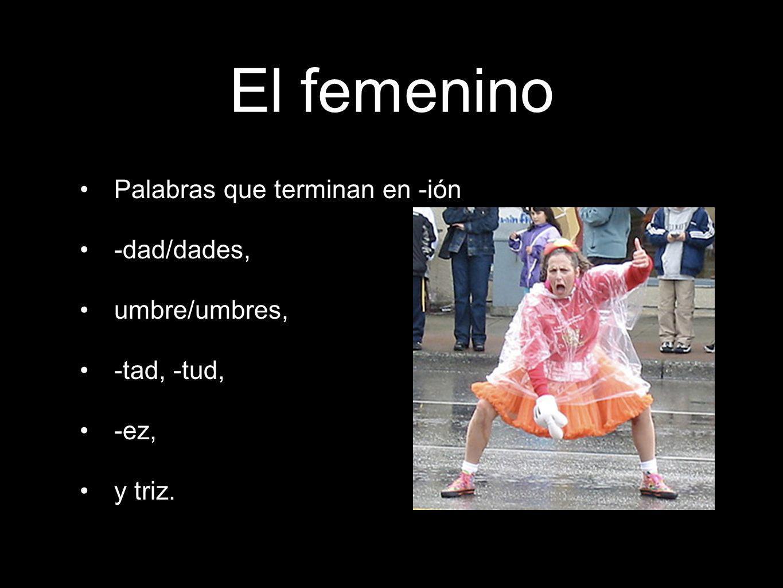 El femenino Palabras que terminan en -ión -dad/dades, umbre/umbres, -tad, -tud, -ez, y triz.