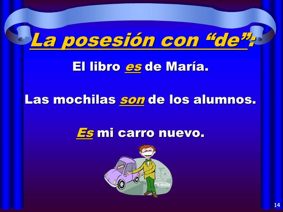 12 El origen: es Juan es de España. es El libro es de Guatemala. son Mis primos son de Buenos Aires.