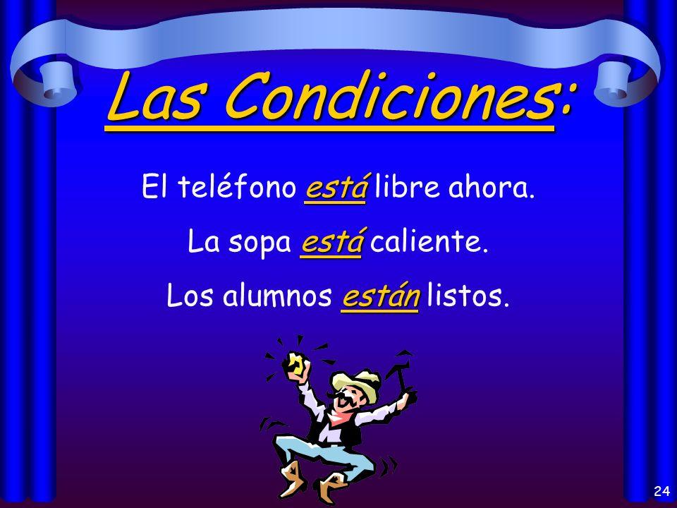 22 La Localización: está Madrid está en España. están Mis libros están en mi casa. estáis ¿Dónde estáis vosotros?