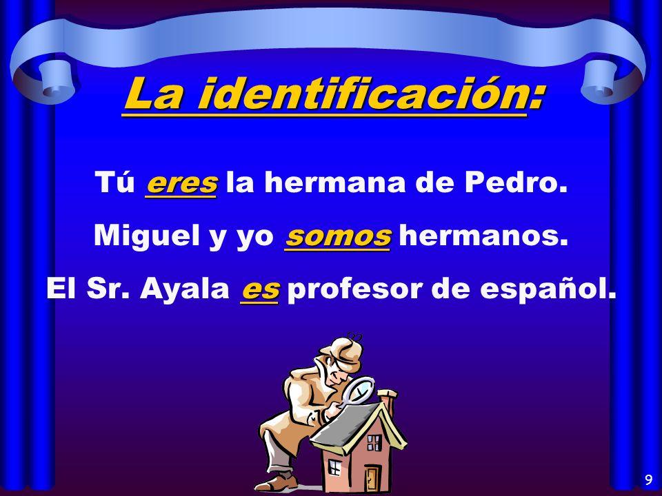 7 Las descripciones: Yo soy muy alto y delgado. Consuelo y Pepe son jóvenes. La profesora es baja.