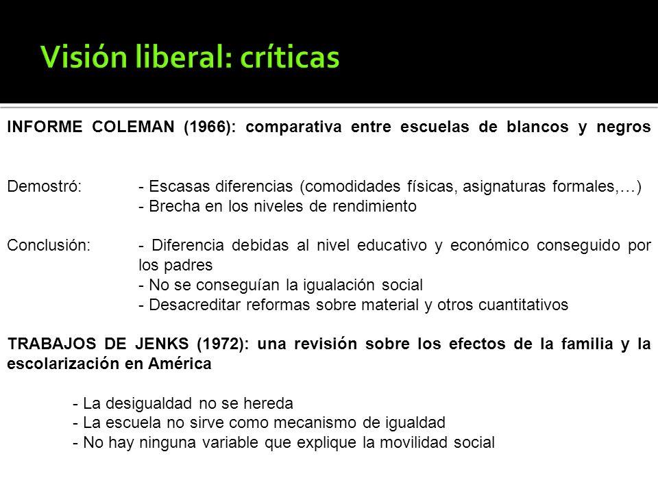 INFORME COLEMAN (1966): comparativa entre escuelas de blancos y negros Demostró: - Escasas diferencias (comodidades físicas, asignaturas formales,…) -