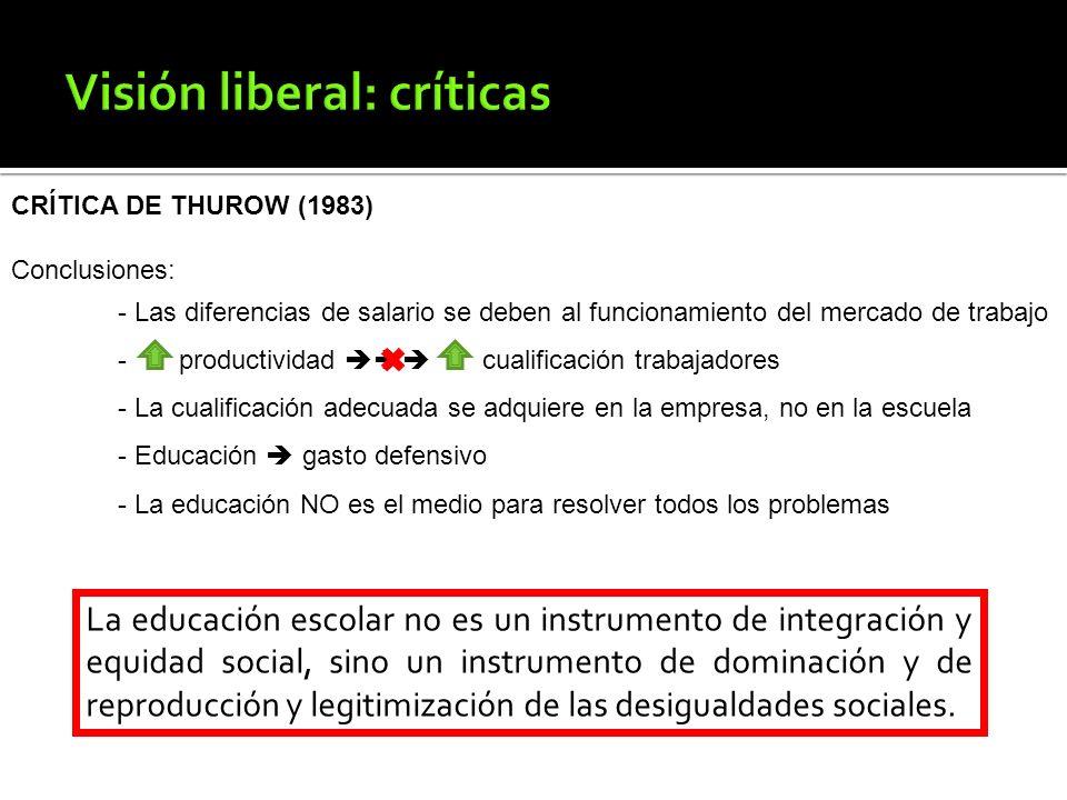 CRÍTICA DE THUROW (1983) Conclusiones: - Las diferencias de salario se deben al funcionamiento del mercado de trabajo - productividad cualificación tr