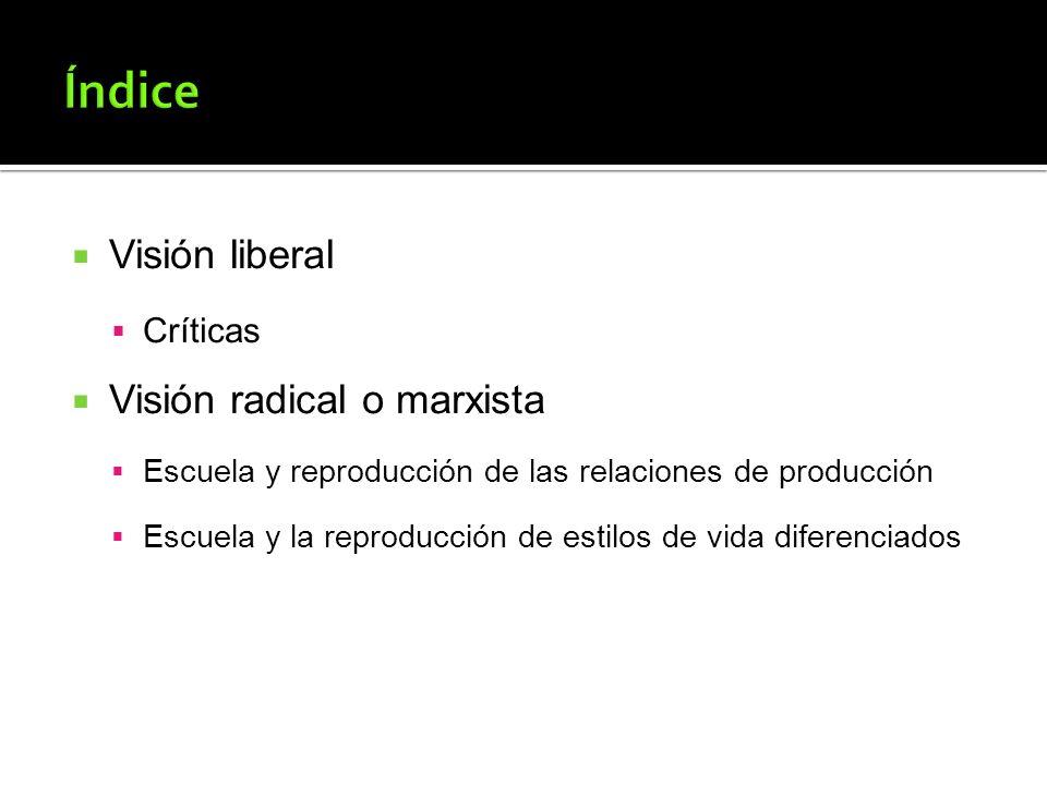 Visión liberal Críticas Visión radical o marxista Escuela y reproducción de las relaciones de producción Escuela y la reproducción de estilos de vida