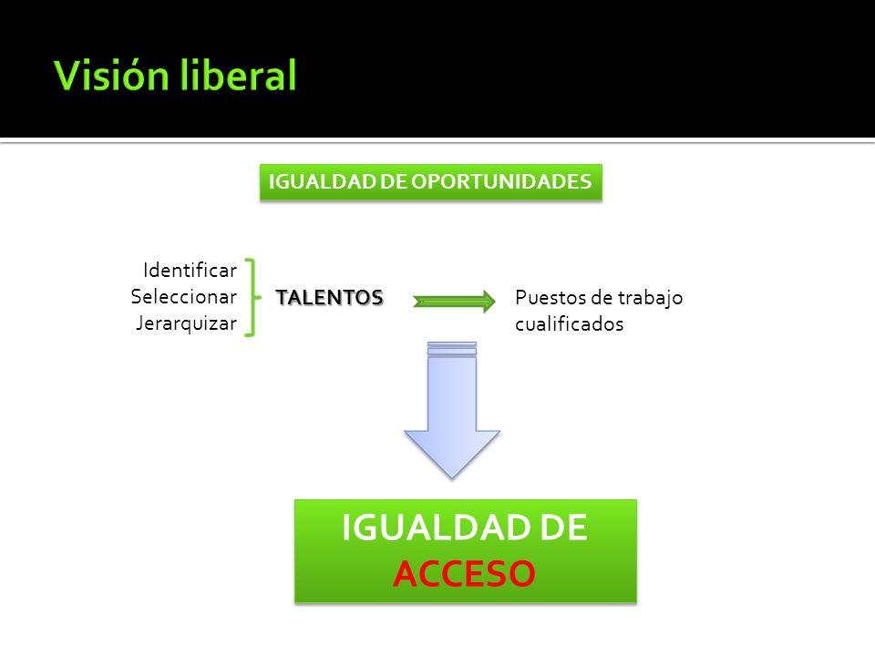 IGUALDAD DE OPORTUNIDADES IGUALDAD DE ACCESO Identificar Seleccionar Jerarquizar TALENTOSPuestos de trabajo cualificados