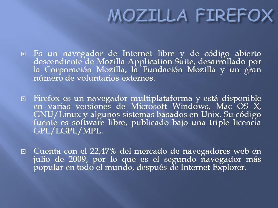 Es un navegador de Internet libre y de código abierto descendiente de Mozilla Application Suite, desarrollado por la Corporación Mozilla, la Fundación Mozilla y un gran número de voluntarios externos.