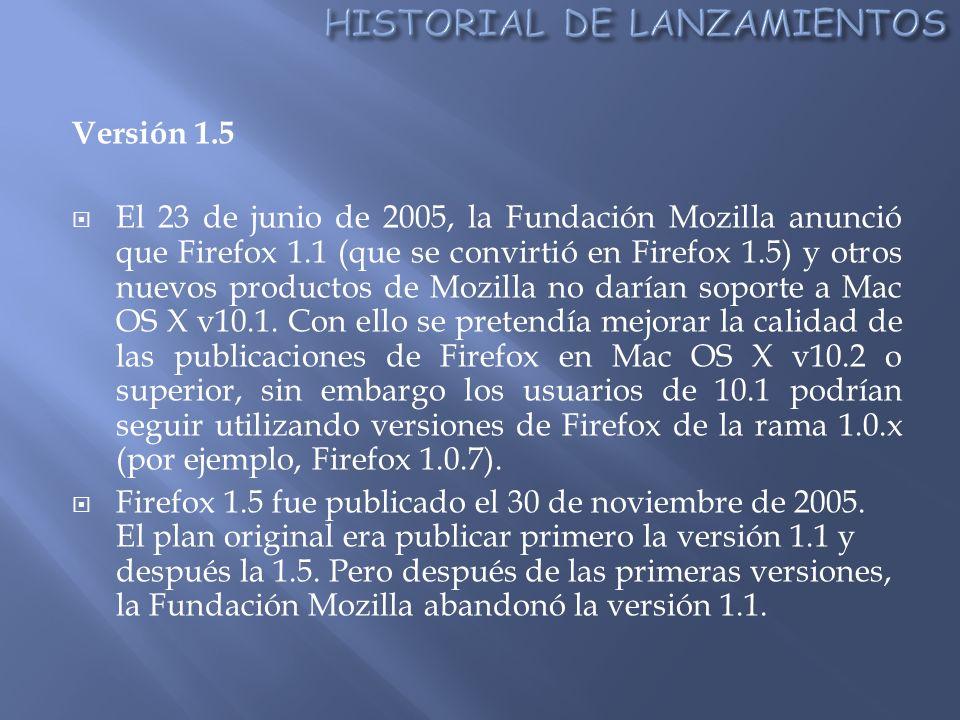 Versión 1.5 El 23 de junio de 2005, la Fundación Mozilla anunció que Firefox 1.1 (que se convirtió en Firefox 1.5) y otros nuevos productos de Mozilla no darían soporte a Mac OS X v10.1.