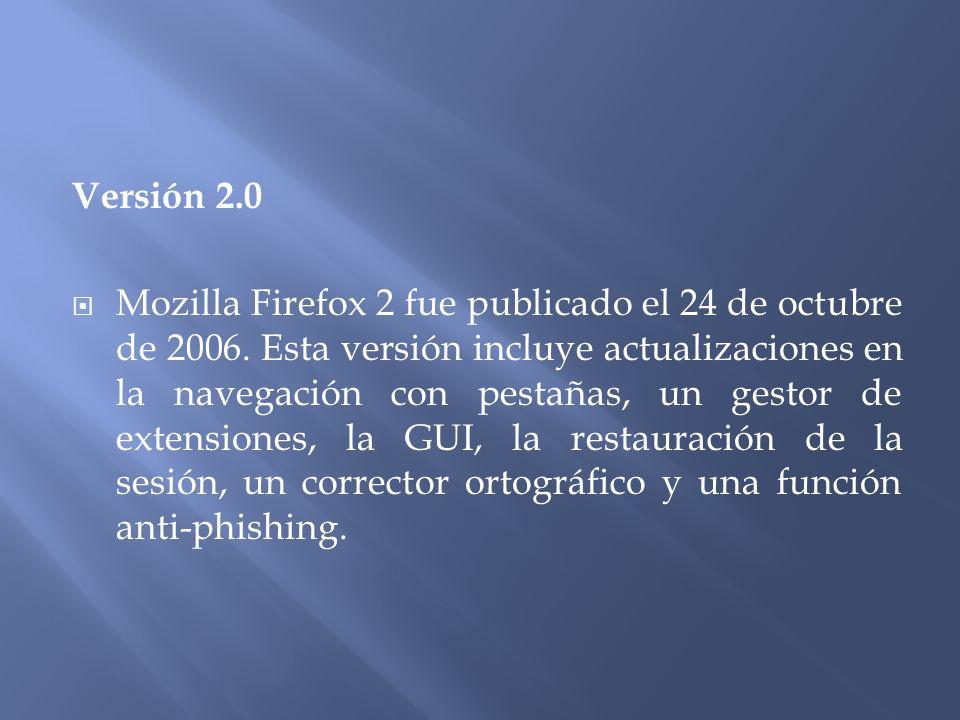 Versión 2.0 Mozilla Firefox 2 fue publicado el 24 de octubre de 2006.