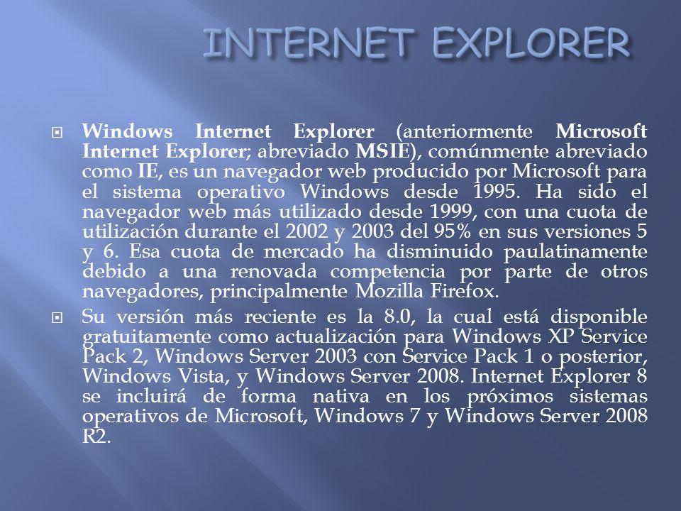 Windows Internet Explorer (anteriormente Microsoft Internet Explorer ; abreviado MSIE ), comúnmente abreviado como IE, es un navegador web producido por Microsoft para el sistema operativo Windows desde 1995.