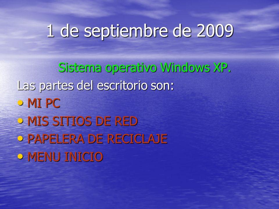 1 de septiembre de 2009 Sistema operativo Windows XP. Las partes del escritorio son: MI PC MI PC MIS SITIOS DE RED MIS SITIOS DE RED PAPELERA DE RECIC