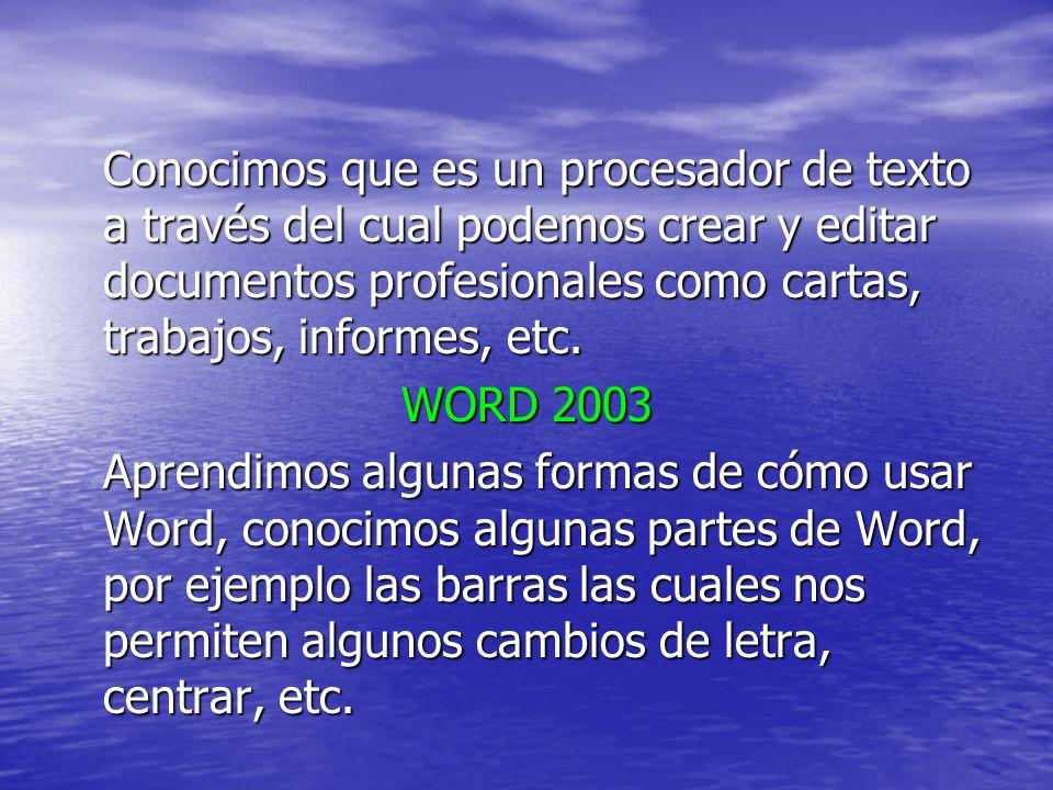 Conocimos que es un procesador de texto a través del cual podemos crear y editar documentos profesionales como cartas, trabajos, informes, etc. WORD 2