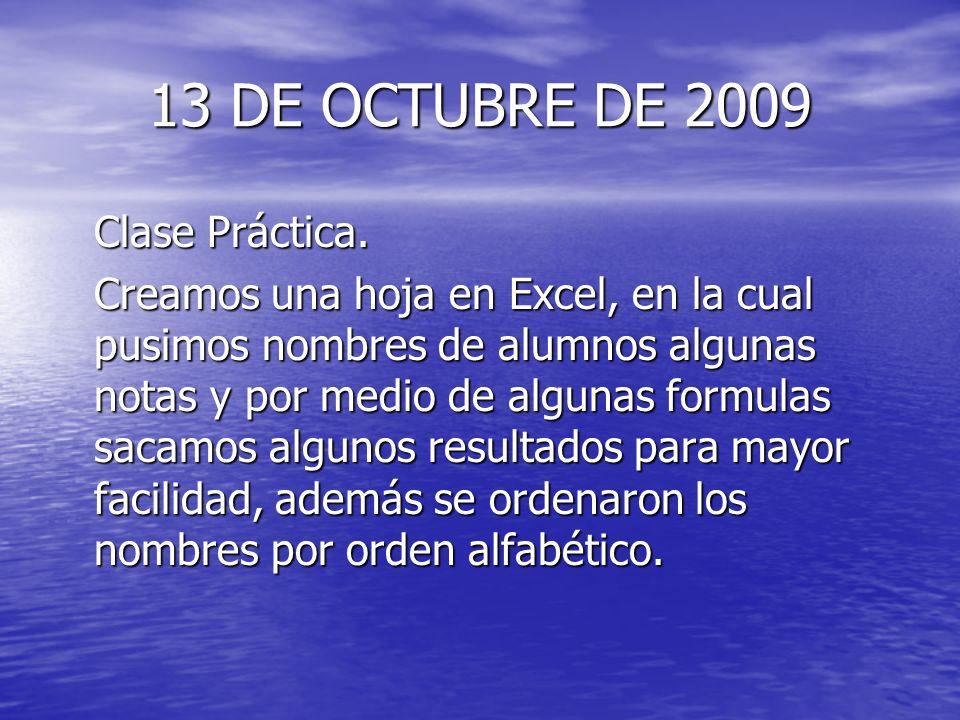 13 DE OCTUBRE DE 2009 Clase Práctica. Creamos una hoja en Excel, en la cual pusimos nombres de alumnos algunas notas y por medio de algunas formulas s