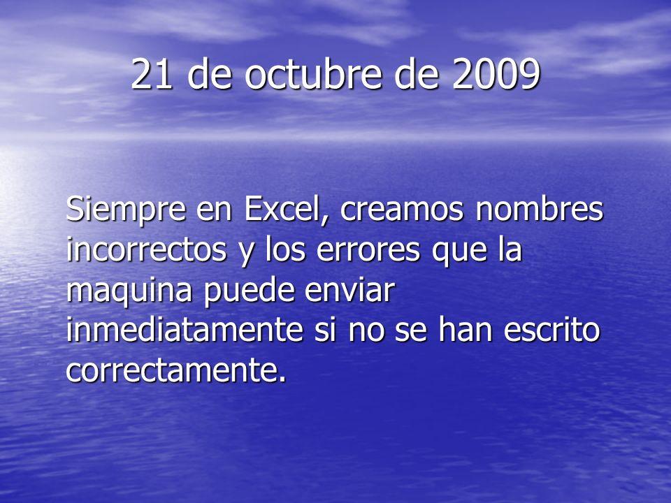 21 de octubre de 2009 Siempre en Excel, creamos nombres incorrectos y los errores que la maquina puede enviar inmediatamente si no se han escrito correctamente.