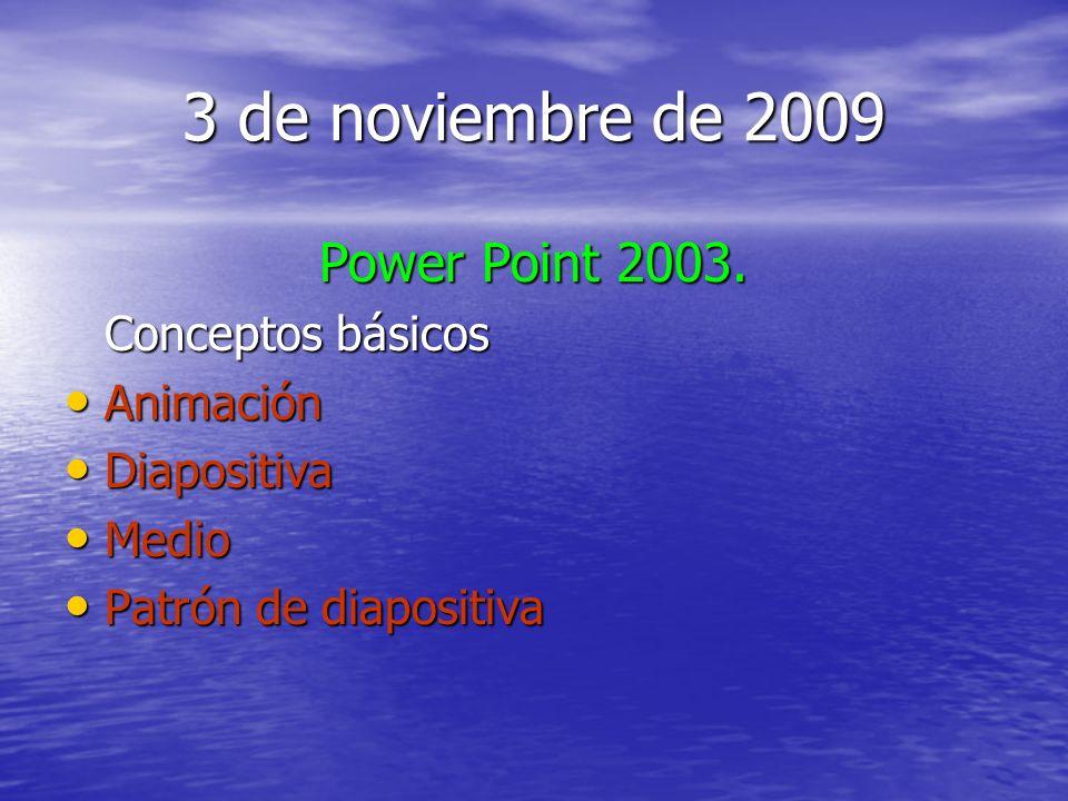 3 de noviembre de 2009 Power Point 2003. Conceptos básicos Animación Animación Diapositiva Diapositiva Medio Medio Patrón de diapositiva Patrón de dia