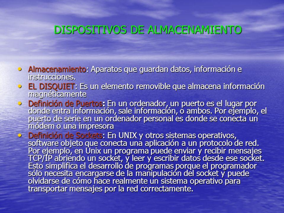 DISPOSITIVOS DE ALMACENAMIENTO Almacenamiento: Aparatos que guardan datos, información e instrucciones.