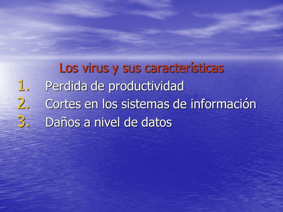 Los virus y sus características 1. Perdida de productividad 2. Cortes en los sistemas de información 3. Daños a nivel de datos