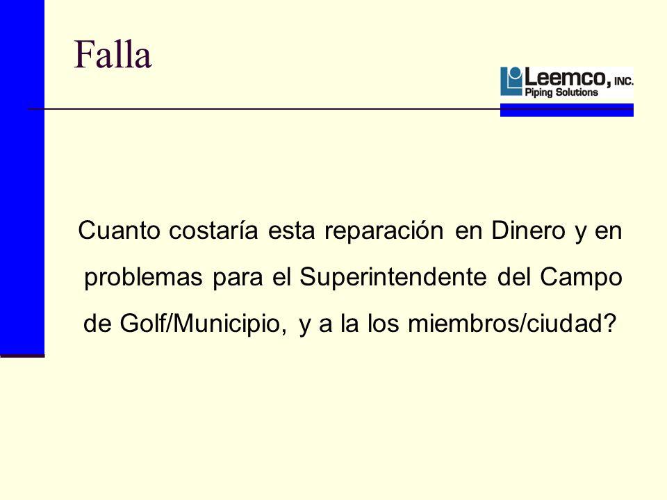 Falla Cuanto costaría esta reparación en Dinero y en problemas para el Superintendente del Campo de Golf/Municipio, y a la los miembros/ciudad?