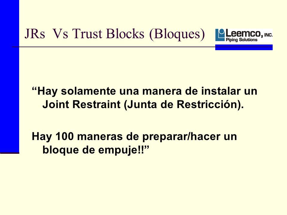 JRs Vs Trust Blocks (Bloques) Hay solamente una manera de instalar un Joint Restraint (Junta de Restricción).