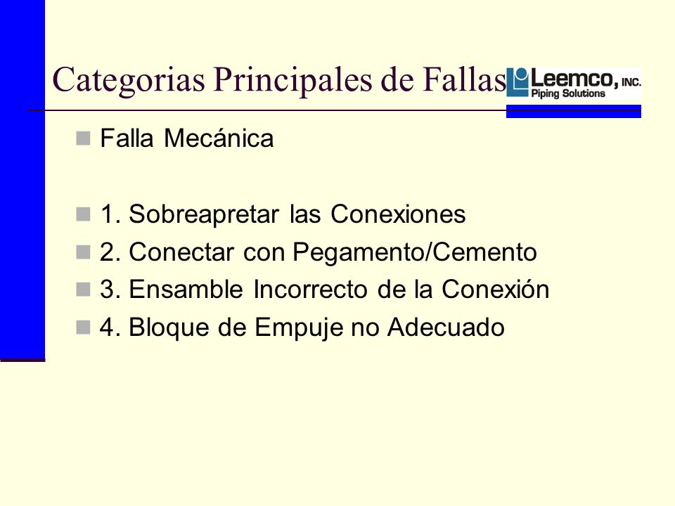 Categorias Principales de Fallas Falla Mecánica 1.