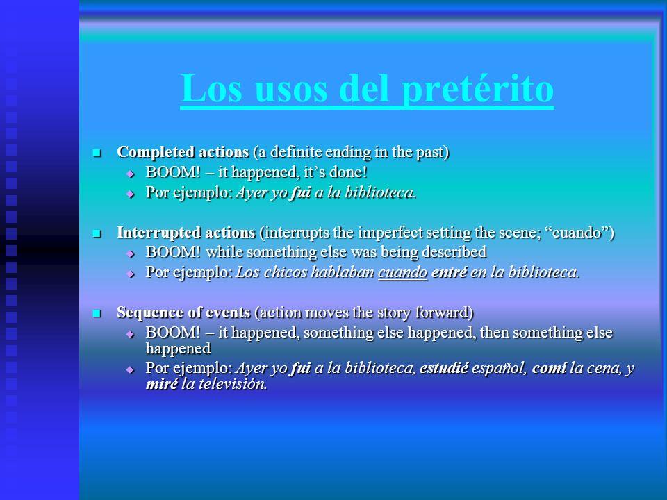 El imperfecto Hay solamente 3 verbos irregulars (ser, ir, ver) Los regulares del imperfecto tienen las siguientes terminaciones: (-ar verbs)(-er/-ir verbs) -aba -ábamos -ía-íamos -abas-abais-ías-íais -aba-aban-ía-ían Hay solamente 3 verbos irregulars (ser, ir, ver) Los regulares del imperfecto tienen las siguientes terminaciones: (-ar verbs)(-er/-ir verbs) -aba -ábamos -ía-íamos -abas-abais-ías-íais -aba-aban-ía-ían