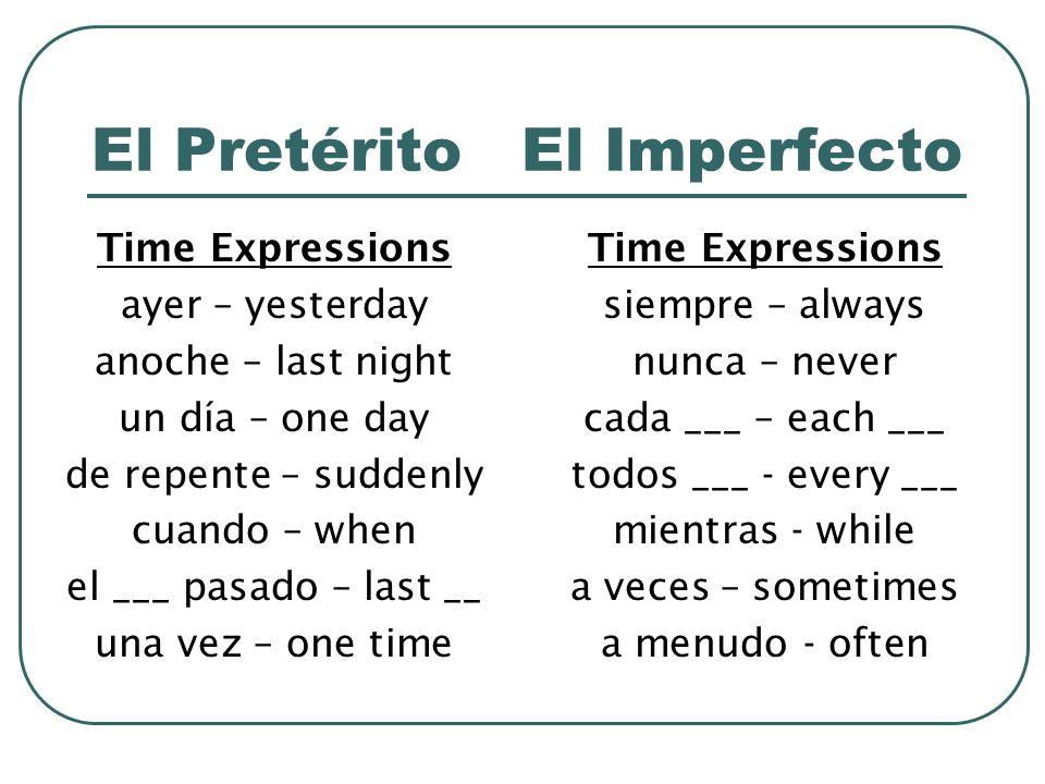El Pretérito El Imperfecto Time Expressions ayer – yesterday anoche – last night un día – one day de repente – suddenly cuando – when el ___ pasado –
