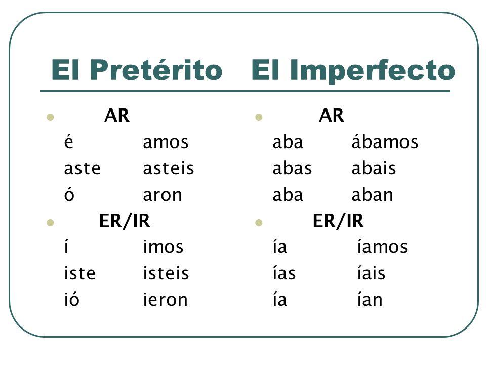 El Pretérito El Imperfecto AR éamos asteasteis óaron ER/IR íimos isteisteis ióieron AR abaábamos abasabais abaaban E R/IR ía íamos ías íais ía ían