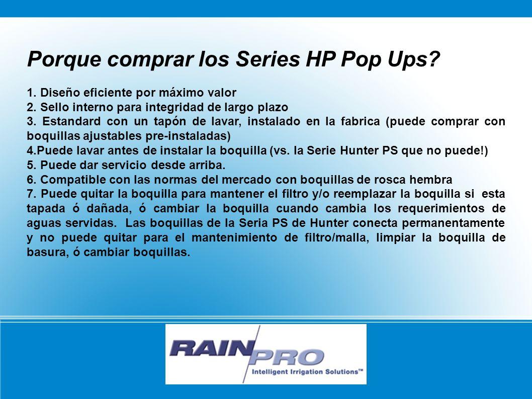 Porque comprar los Series HP Pop Ups? 1. Diseño eficiente por máximo valor 2. Sello interno para integridad de largo plazo 3. Estandard con un tapón d