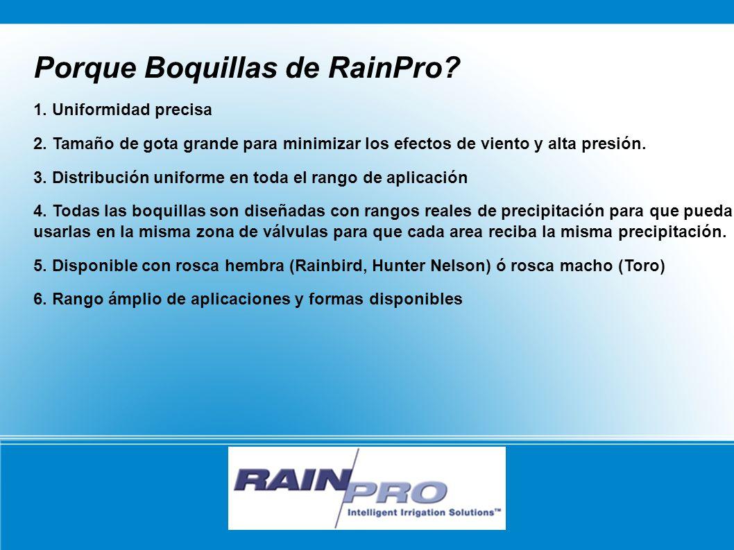 RAIN/PRO Porque Boquillas de RainPro? 1. Uniformidad precisa 2. Tamaño de gota grande para minimizar los efectos de viento y alta presión. 3. Distribu