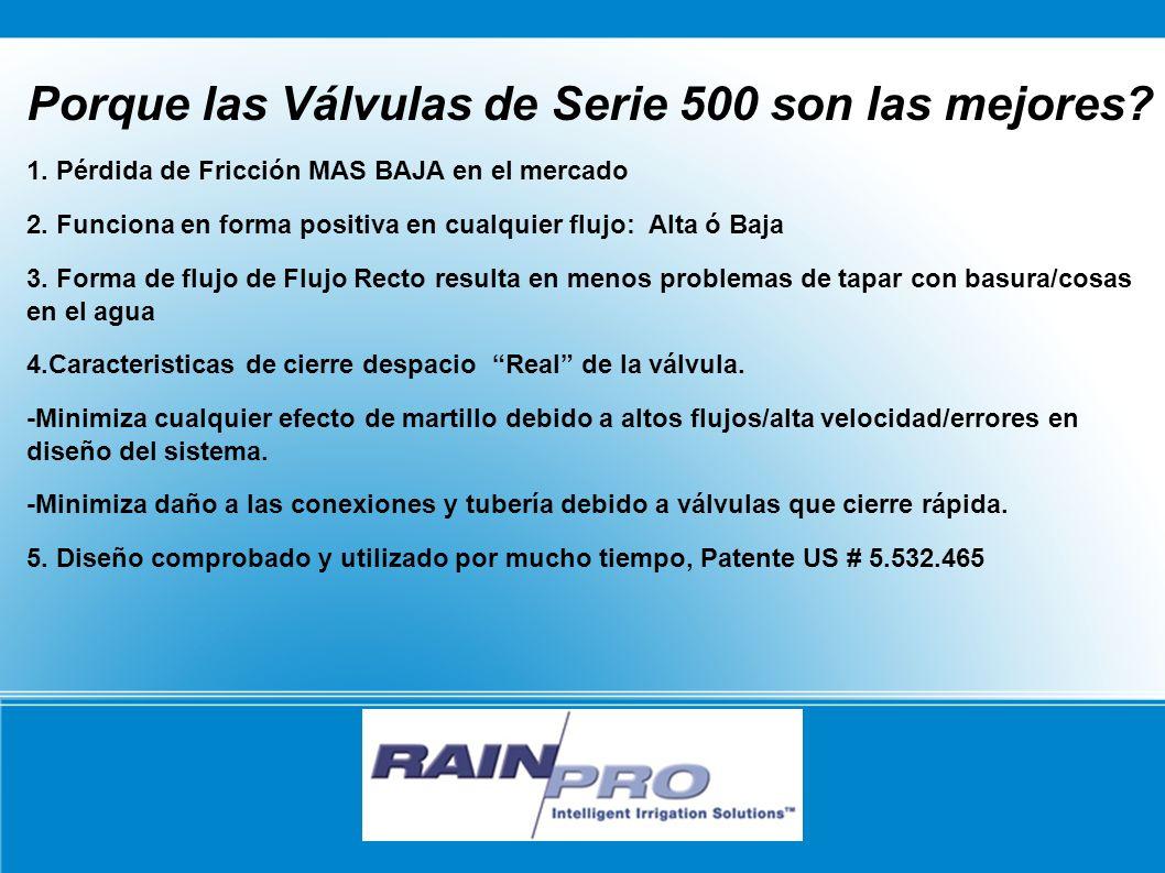 RAIN/PRO Porque las Válvulas de Serie 500 son las mejores? 1. Pérdida de Fricción MAS BAJA en el mercado 2. Funciona en forma positiva en cualquier fl