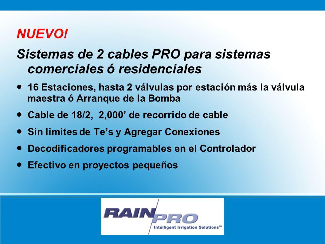 NUEVO! Sistemas de 2 cables PRO para sistemas comerciales ó residenciales 16 Estaciones, hasta 2 válvulas por estación más la válvula maestra ó Arranq