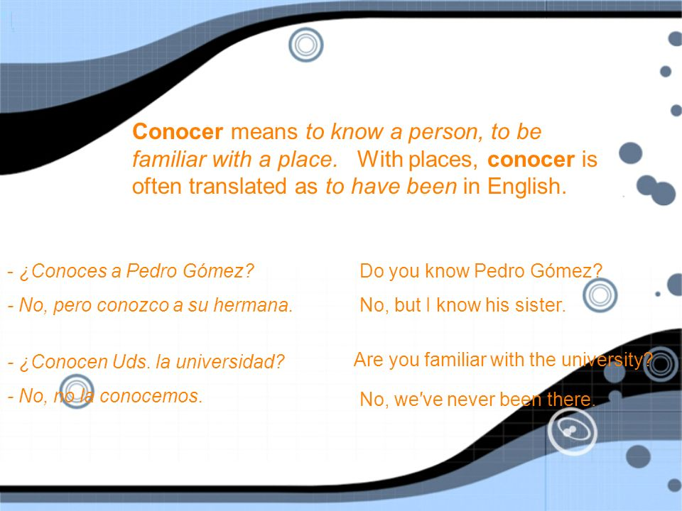 Conocer means to know a person, to be familiar with a place.