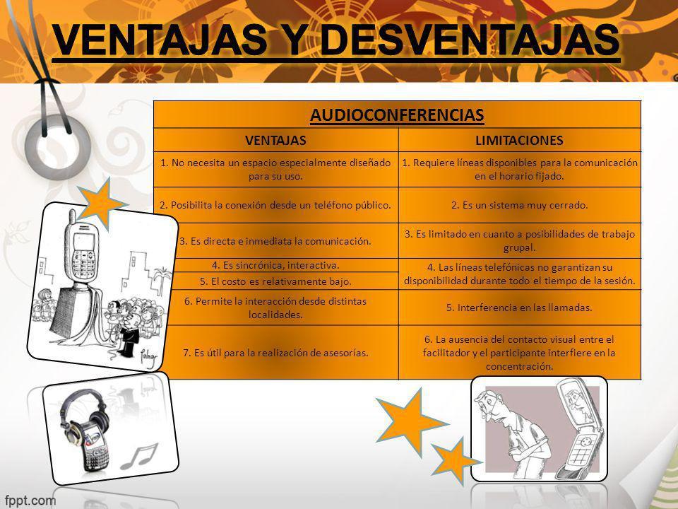 AUDIOCONFERENCIAS VENTAJASLIMITACIONES 1.